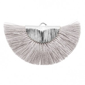 Kwastjes hanger (stof) silver light grey 46x25mm