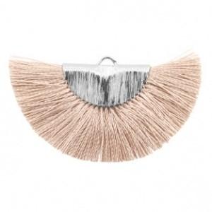 Kwastjes hanger (stof) silver misty grey rose 46x25mm