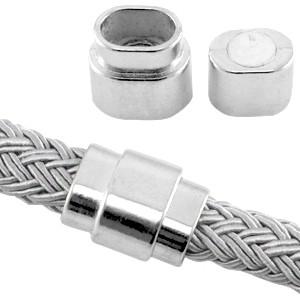 Magneetslot 18x15mm zilver (voor kabel leer 10x6mm of meerdere koorden leer / draad)