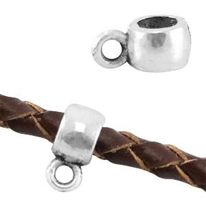 Metalen schuiver rond met oog zilver 8x4mm (voor rond leer / koord tot 3mm)