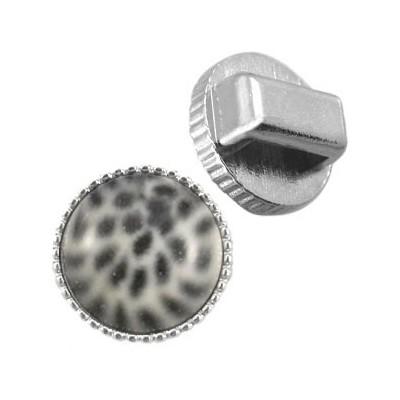 Metalen schuiver / slider rond ribbel zilver voor Polaris cabochon 12mm