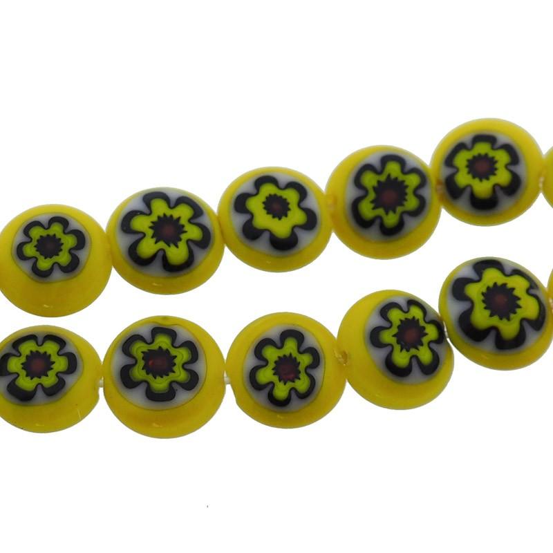 Millefiori glaskraal geel zwart 8mm