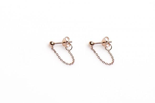 Karma minimalistische oorbellen chain ball 925 sterling zilver (roseplated) (per paar)