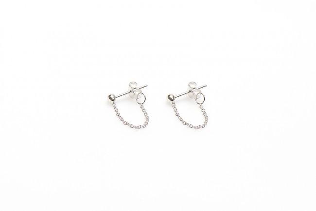 Karma minimalistische oorbellen chain ball 925 sterling zilver (per paar)