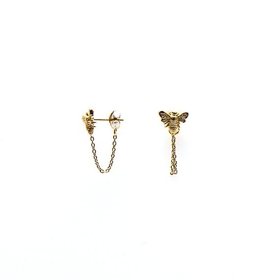 Karma minimalistische oorbellen chain bee 925 sterling zilver (goldplated) (per paar)