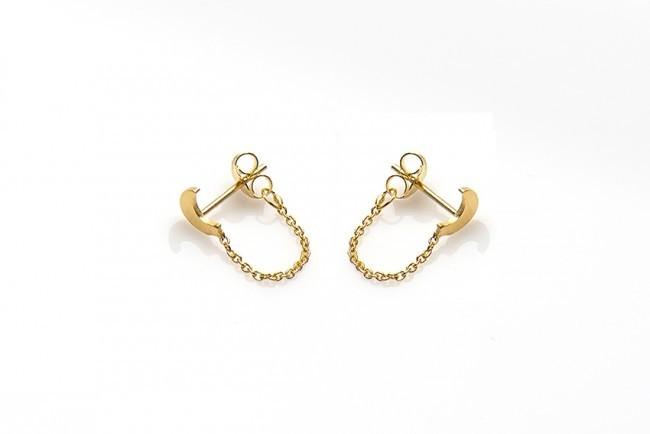 Minimalistische Oorbellen Zilver : Karma minimalistische oorbellen chain moon sterling zilver
