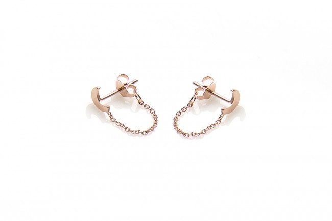 Karma minimalistische oorbellen chain moon 925 sterling zilver (roseplated) (per paar)