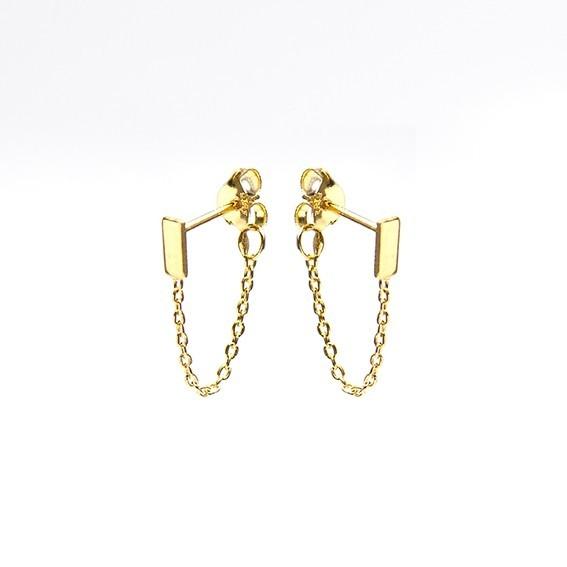 Karma minimalistische oorbellen chain rectangle goldplated (per paar)