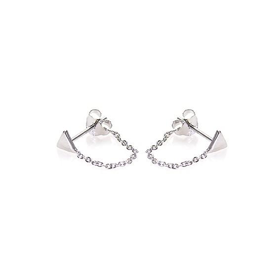 Karma minimalistische oorbellen chain triangle 925 sterling zilver (per paar)