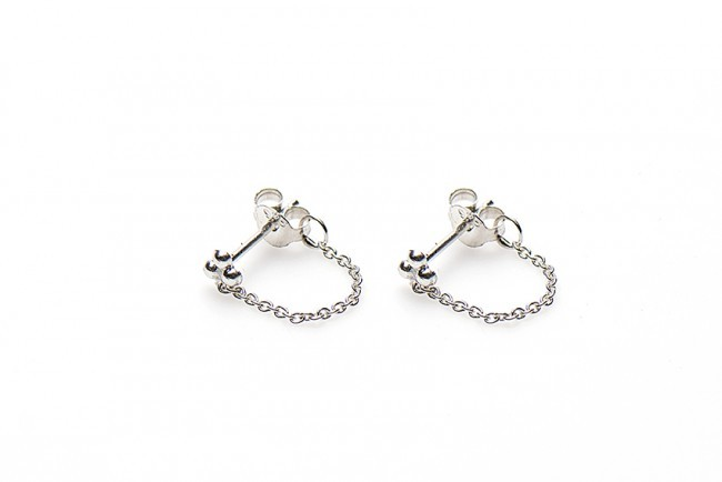 Karma minimalistische oorbellen chain triple dots 925 sterling zilver (per paar)