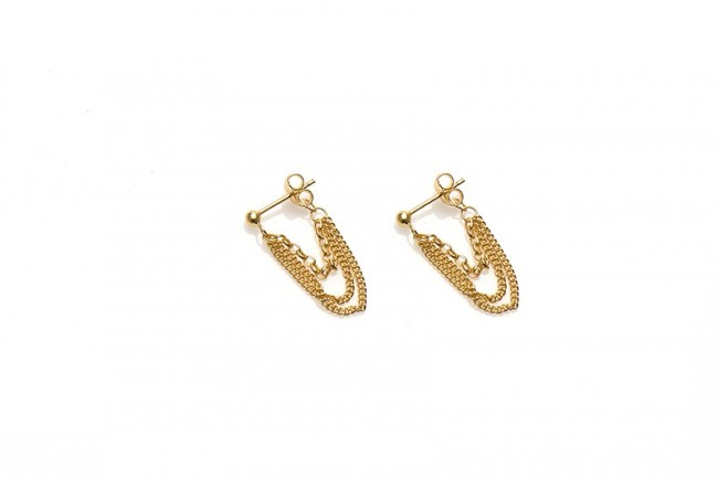 Karma minimalistische oorbellen multi chain 925 sterling zilver (goldplated)