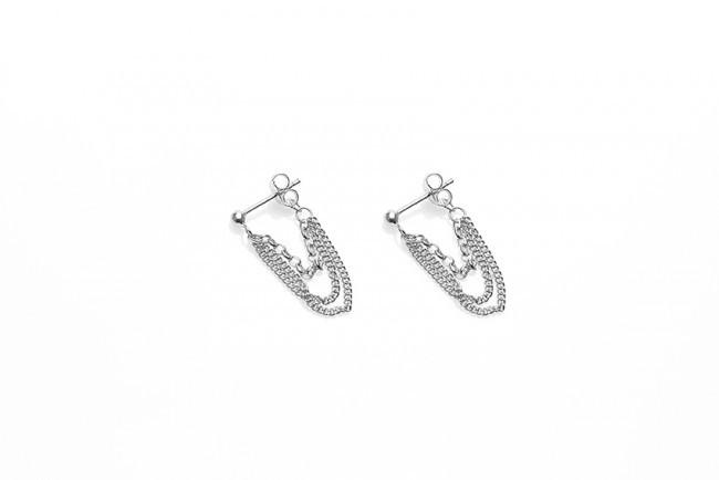 Karma minimalistische oorbellen multi chain 925 sterling zilver (per paar)