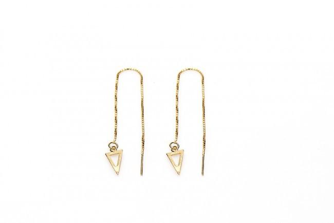 Karma minimalistische oorbellen pull through open triangle 925 sterling zilver (goldplated) (per paar)