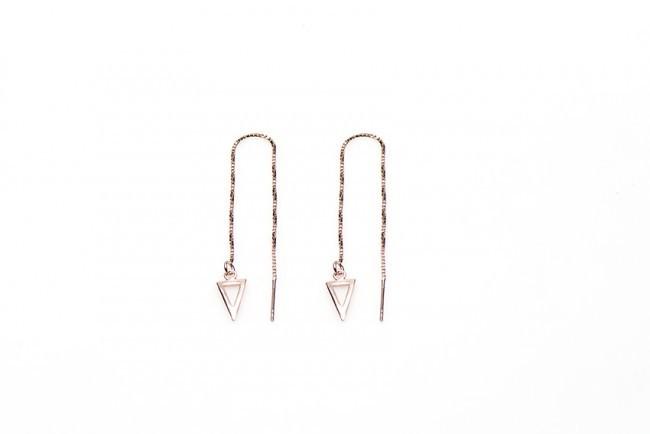 Karma minimalistische oorbellen pull through open triangle 925 sterling zilver (roseplated) (per paar)