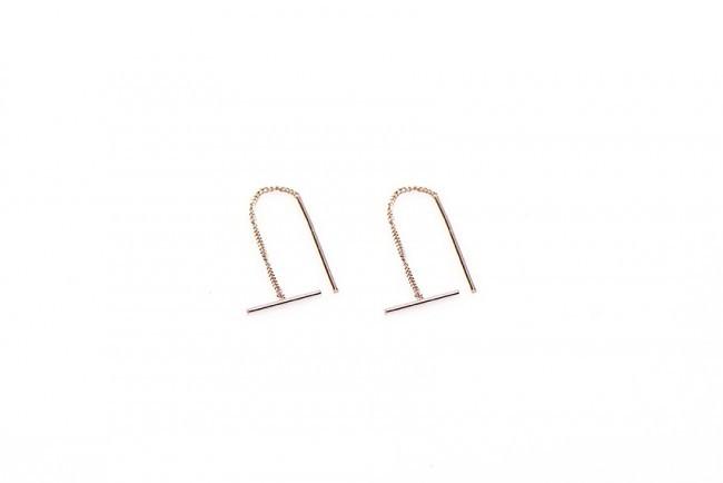 Karma minimalistische oorbellen pull through tube 925 sterling zilver (roseplated) (per paar)