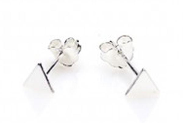 Minimalistische Oorbellen Zilver : Karma minimalistische oorbellen symbols triangle sterling