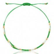 Miyuki armbandje green-white