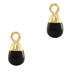 Natuursteen bedel / hanger druppel 13x6mm black goud