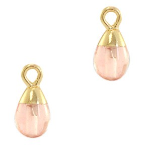 Natuursteen bedel / hanger druppel 13x6mm blossom pink goud
