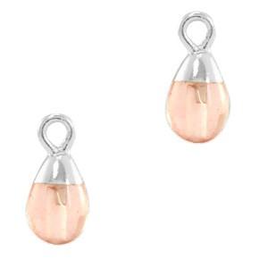 Natuursteen bedel / hanger druppel 13x6mm blossom pink zilver