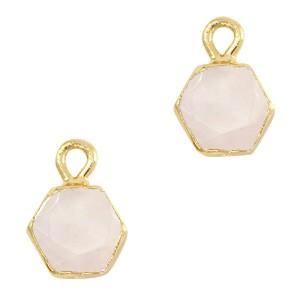 Natuursteen bedel / hanger hexagon 12x9mm white rose goud