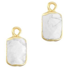 Natuursteen bedel / hanger rechthoek 16x8mm marble white goud