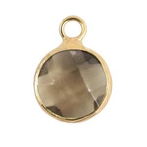 Natuursteen hanger 10mm black diamond gold