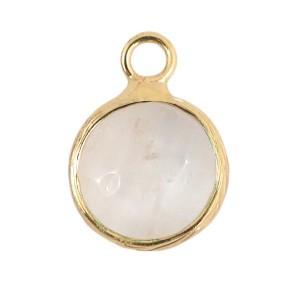 Natuursteen hanger 10mm white crystal gold