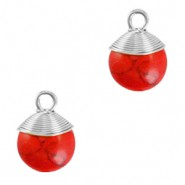 Natuursteen hangers wire wrapped red marble zilver
