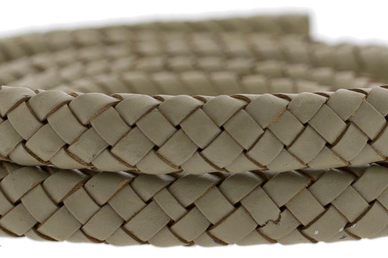 Ovaal gevlochten kabel leer 10x6mm licht olijf groen per cm