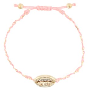 armbandje-gevlochten-peachy-rose-gold-kauri-schelp-goud