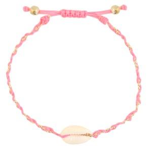 armbandje-kauri-gevlochten-pink-gold