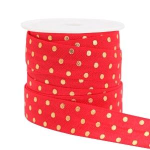 Plat elastisch lint 15mm dots red (per 25cm)