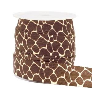 Plat elastisch lint 15mm giraffe brown (per 25cm)