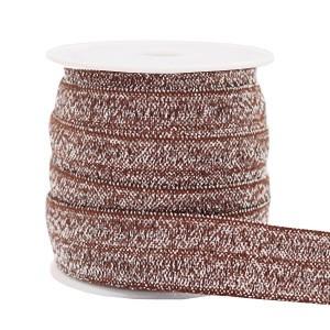 Plat elastisch lint 15mm glitter taupe (per 25cm)