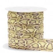 Plat elastisch lint 15mm snake olive-green (per 25cm)