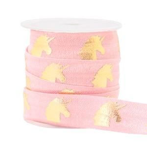 Plat elastisch lint 15mm unicorn light-pink (per 25cm)