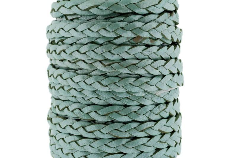 Plat gevlochten leer 5mm groen metallic per 20cm