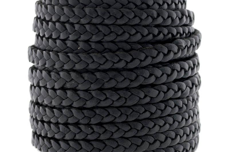 Plat gevlochten leer 5mm zwart per 20cm