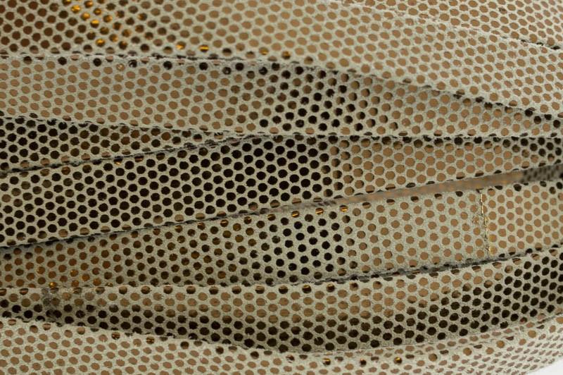 Plat leer met print 10mm beige bronze per 20cm