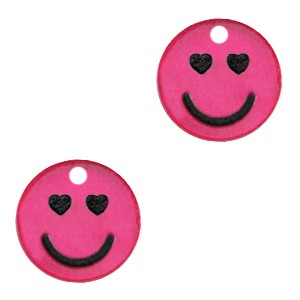 Plexx bedel smiley rond hearts magenta glitter 12mm
