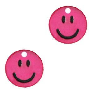 Plexx bedel smiley rond magenta glitter 12mm