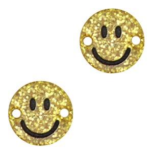 Plexx bedel tussenzetsel smiley rond hearts gold glitter 12mm