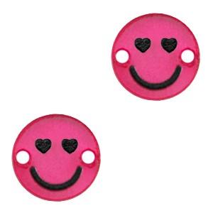 Plexx bedel tussenzetsel smiley rond hearts magenta glitter 12mm