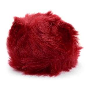 Pompom bedel (groot) met oog faux fur 8cm burgundy red