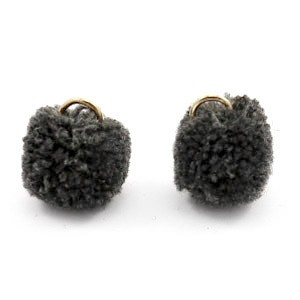 Pompom bedel met oog 15mm anthracite black