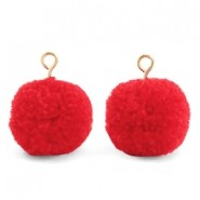 Pompom bedel met oog 15mm dark coral red gold