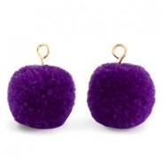 Pompom bedel met oog 15mm indigo purple gold