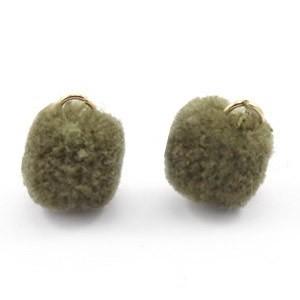 Pompom bedel met oog 15mm olive green