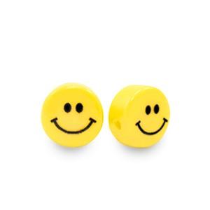 Resin kraal smiley rond geel 6mm